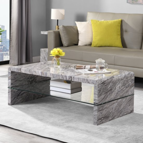 Momo High Gloss Coffee Table In Melange With Glass Undershelf