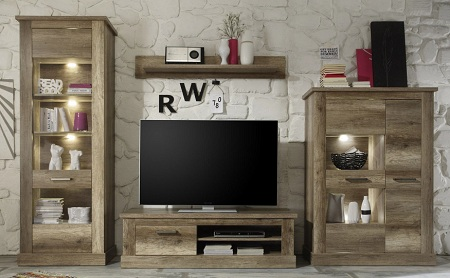 Montreal Living Room Furniture Set In Canyon Oak With LED Light 18