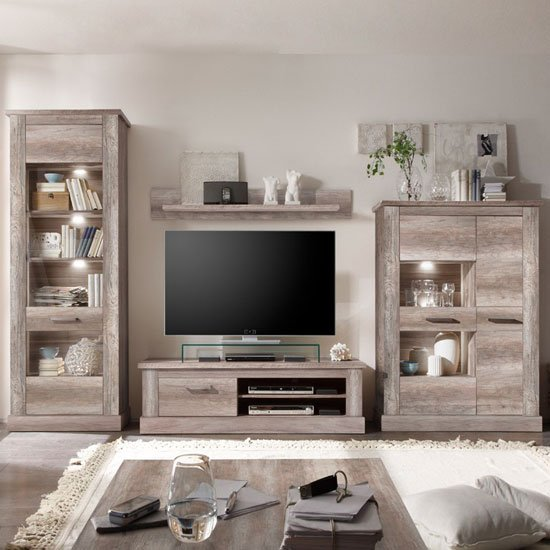 Montreal Living Room Furniture Set In Canyon Oak With Led