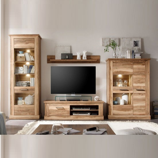 Lovely Montreal Living Room Furniture Set 1 In Walnut Satin With LED Part 2