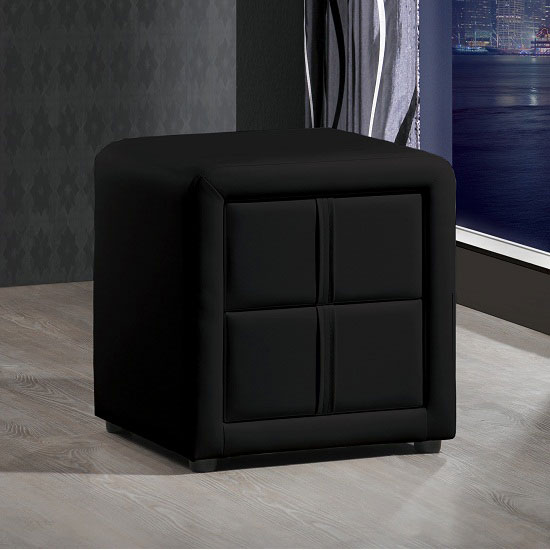 Monaco Black Finish Bedside Cabinet With 2 Drawers