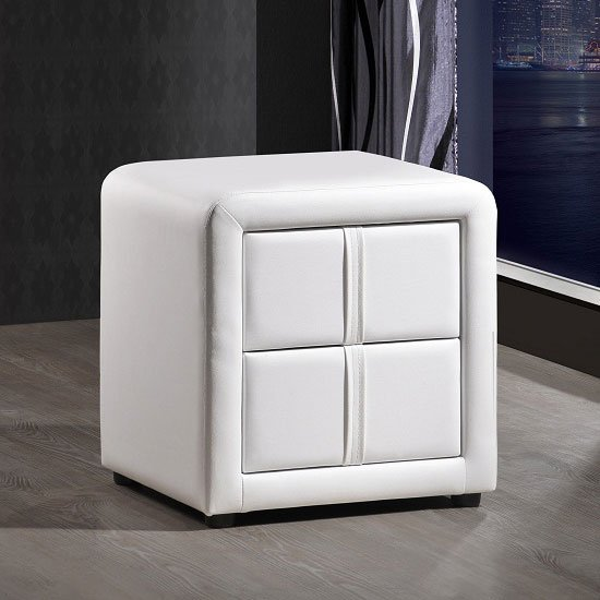Monaco White Finish Bedside Cabinet With 2 Drawers
