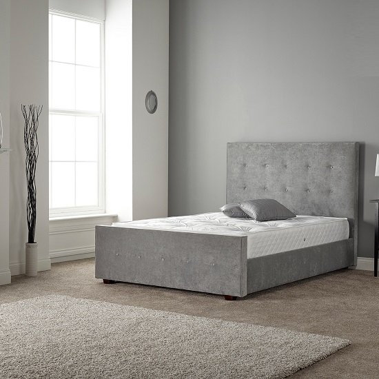 Rachel Bed In Naples Silver Fabric With Wooden Feet