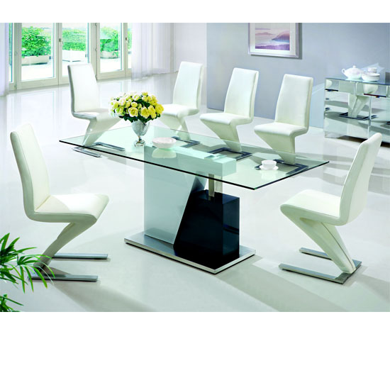 Alonzo Clear Glass Dining Table And 6 Z Leather Dining Chairs