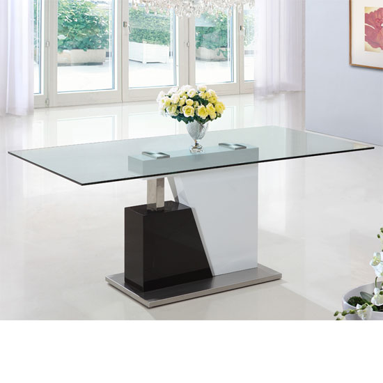 Alonzo Large Rectangular Clear Glass Dining Table