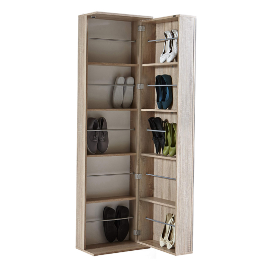 Monale Mirrored Shoe Storage Cabinet In Brushed Oak_2