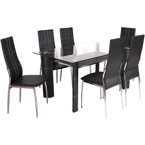Montreal Glass Dining Table And 6 Black Chairs