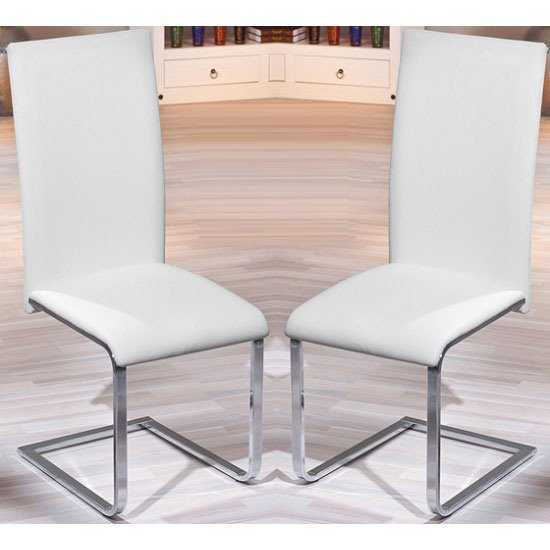 Montana White Faux Leather Dining Chairs In A Pair