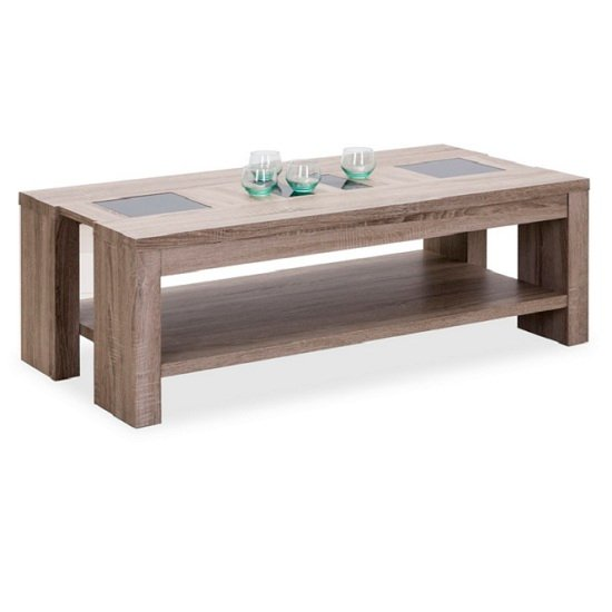 Montero Coffee Table In Oak With Black Glass Inserts