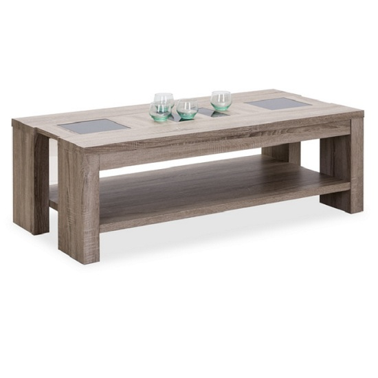 Montero Coffee Table In Oak With Black Glass Inserts 23914