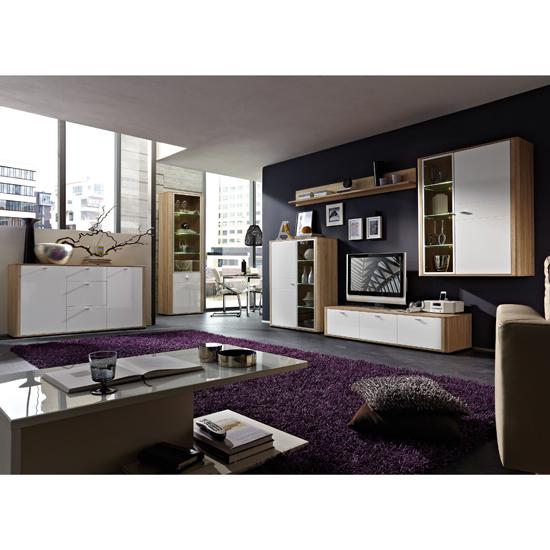 Living Room Set The Monza Candian Oak & Gloss white range of living  550 x 550