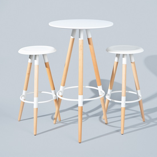 Moreno Round Bar Table In White With 2 Coorg Bar Stools 2711