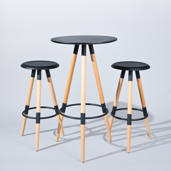 Read more about Moreno round bar table set in black with 2 coorg bar stools