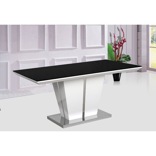 Memphis high gloss dining table with glass top only 120cm for Table carree 120 cm