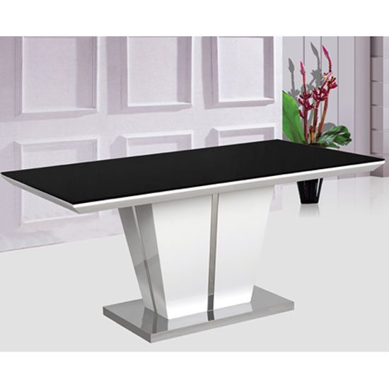 Memphis High Gloss Dining Table With Glass Top Only 160Cm