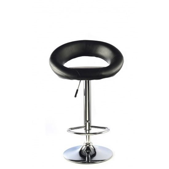 Murry Black Faux Leather Bar Stool With Chrome Base