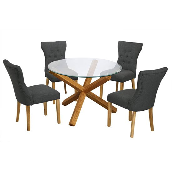 round glass table and 4 chairs 1