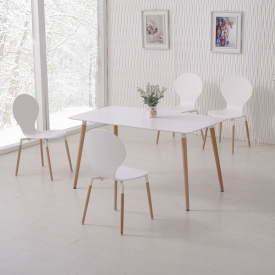 napoli dining table in white top and 6 dining chairs 24879