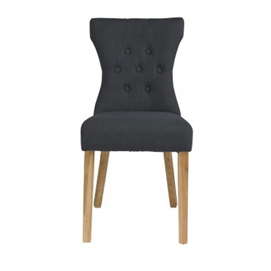 Optro Dining Chair In Grey With Oak Legs