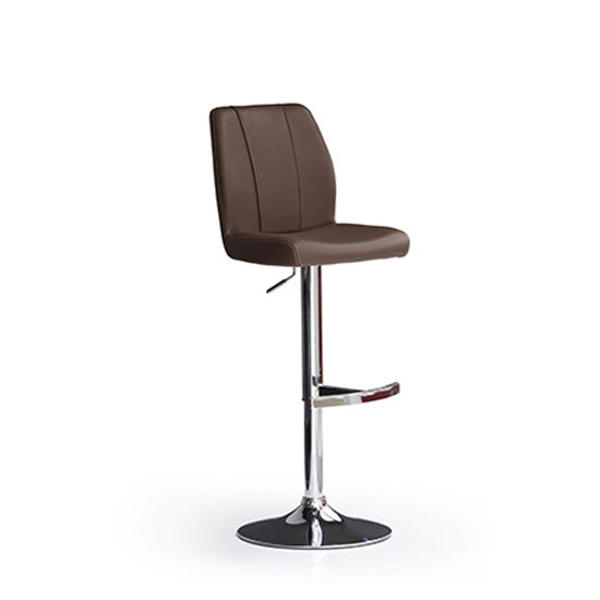 Naomi Brown Bar Stool In Faux Leather With Round Chrome Base