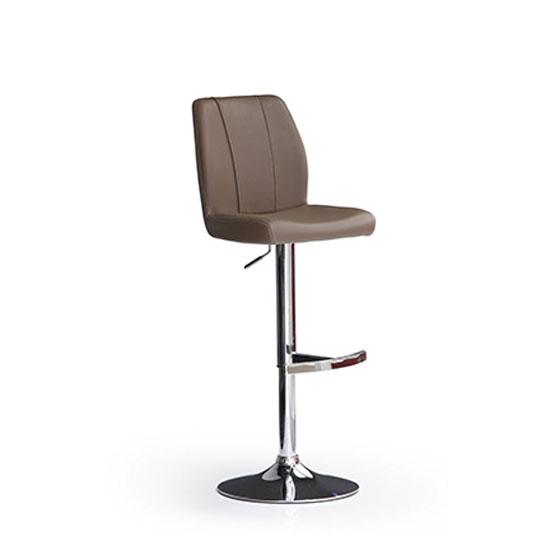 Naomi Cappuccino Faux Leather Bar Stool With Round Chrome Base