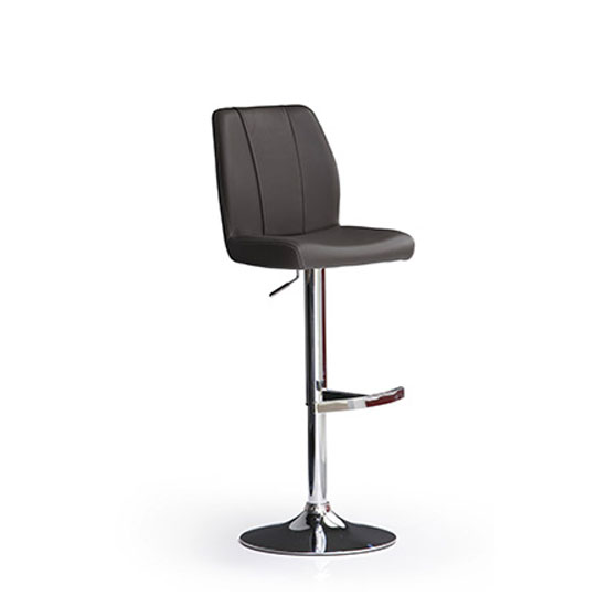 Naomi Black Bar Stool In Faux Leather With Round Chrome Base