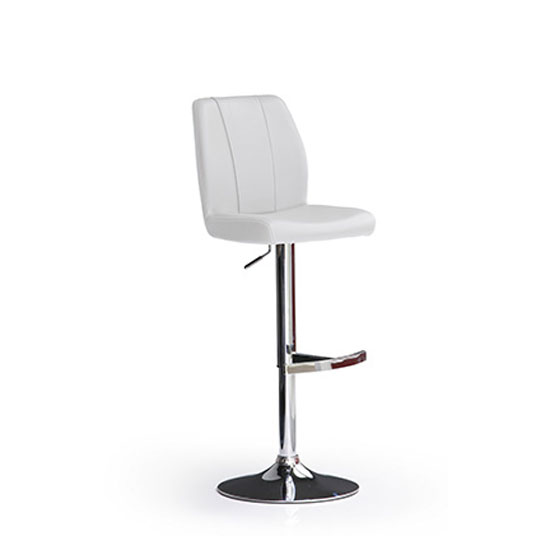 Naomi White Bar Stool In Faux Leather With Round Chrome Base