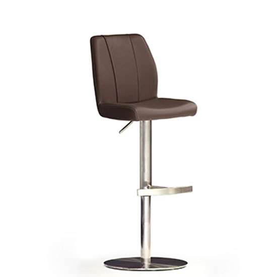 Naomi Brown Bar Stool In Faux Leather With Stainless Steel Base