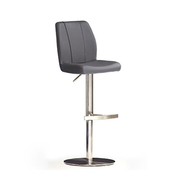 Naomi Grey Bar Stool In Faux Leather With Stainless Steel Base