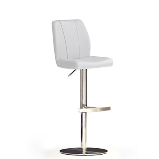 Naomi White Bar Stool In Faux Leather With Stainless Steel Base