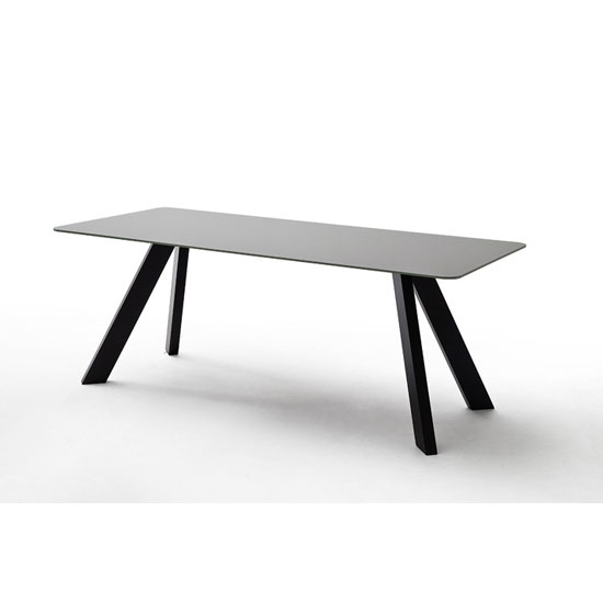 Nebi Glass Dining Table In Grey With Metal Legs