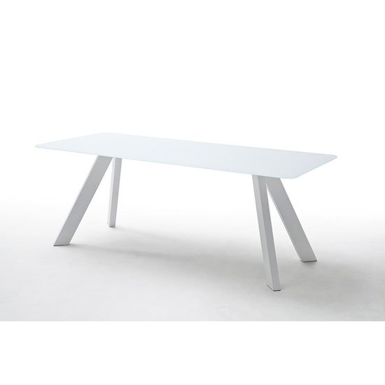 Nebi glass dining table in white with metal legs 25150 for White metal dining table