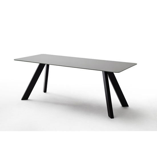 Nebi Glass Dining Table Wide In Grey With Metal Legs