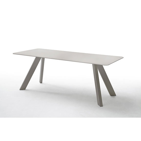 Nebi Glass Dining Table Wide In Taupe With Metal Legs