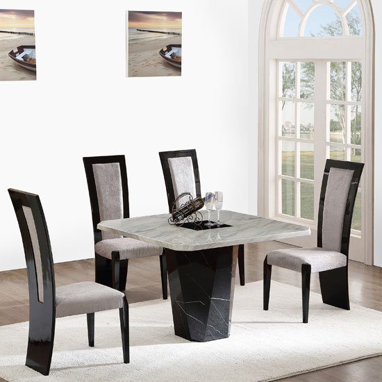25184 nouvaro marble dining table with 4 chairs in black