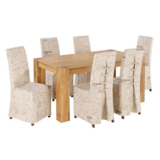 Nadria Solid Oak Finish Dining Table And 6 Breton Dining Chairs