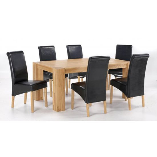 Nadria Solid Oak Finish Dining Table And 6 Dining Chairs