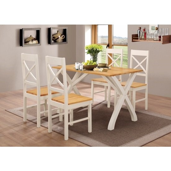 Panama Dining Table In Solid Rubber Wood With 4 Dining Chairs_2