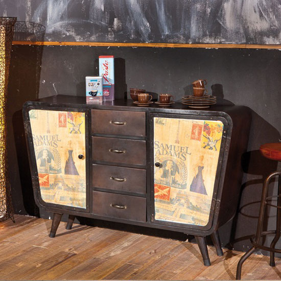Nadar Brown Metal 4 Drawer Chest With 2 Door In Canvas Decor