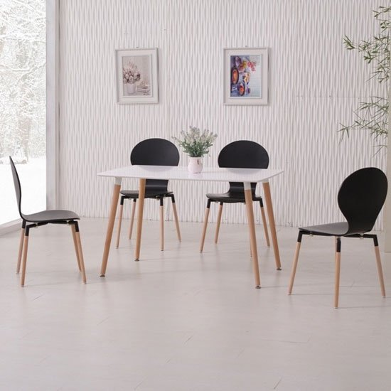Napoli Dining Table In  White Top And 4 Black Dining Chairs