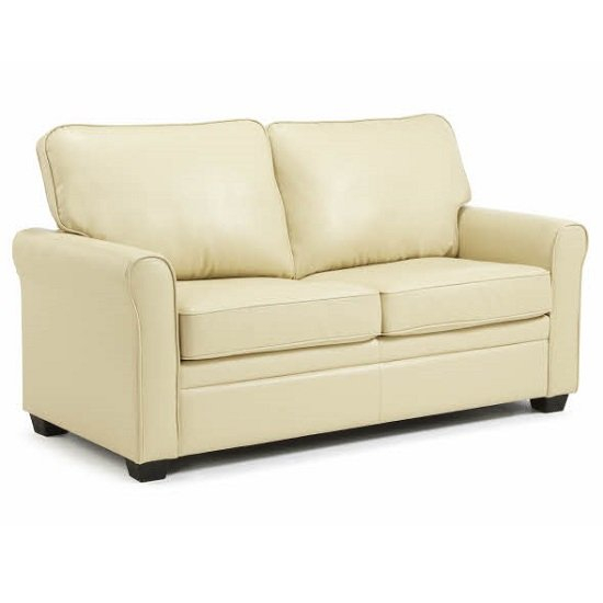 Alyssa Modern Sofa Bed In Cream Faux Leather