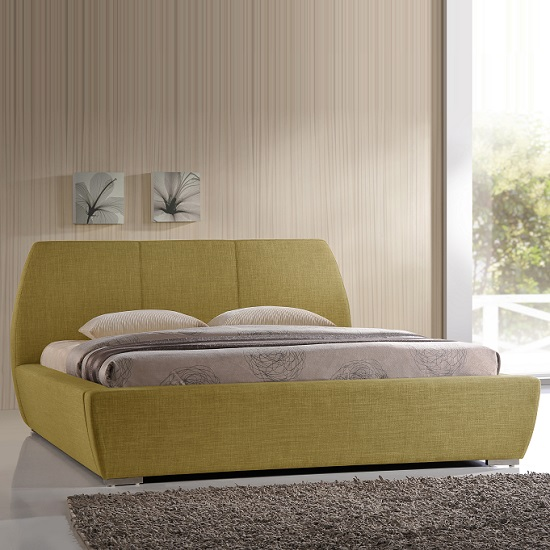 Naxos Contemporary Double Bed In Green Fabric With Chrome Feet