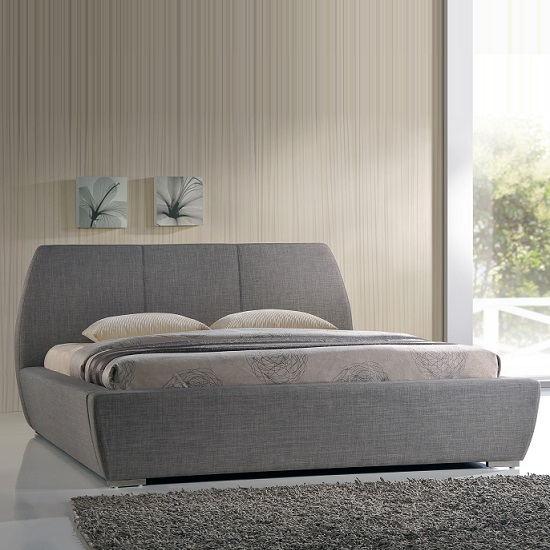 Stylish King Size Bed In Grey Fabric With Chrome Feet
