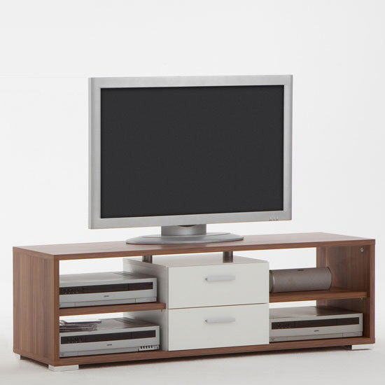 Elista small lcd tv stand in sand oak with 1 drawer for White plasma tv stands