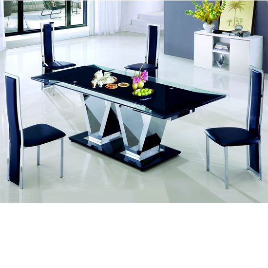 Nico Rectangle Extending Glass Dining Table And Leather