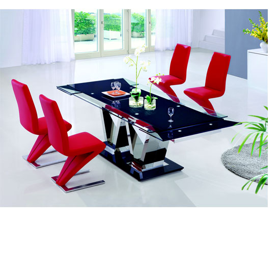 Nico Extending Glass Dining Table And 6 Z Leather Dining Chairs
