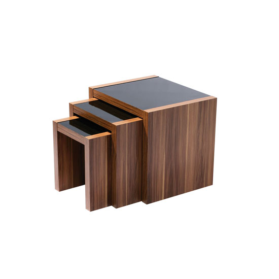 Sirius Wooden Nest of 3 Tables In Walnut