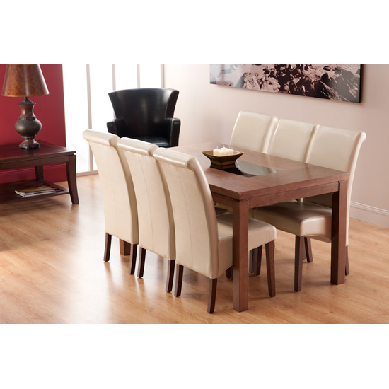 Nevada Dining Table In Walnut And 4 Ivory Chairs
