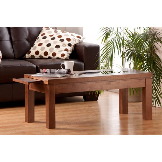 Nevada Coffee Table In Walnut With Black Glass Inserts