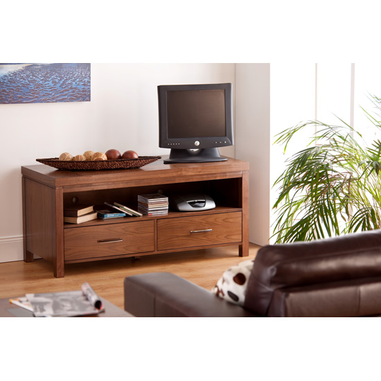 Nevada TV Unit In Walnut With Black Glass Inserts